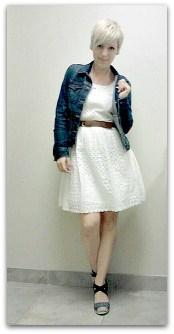 eyelet dress and denim jacket