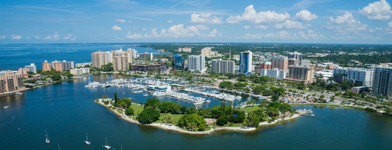 Sarasota Florida waterfront with Marina Jack's restaurant.