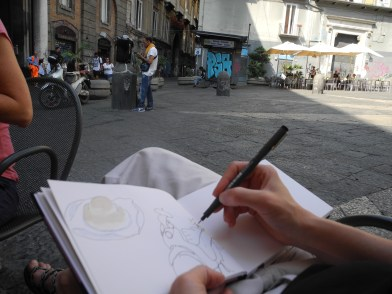 Illustration watercolor of the musician in napoli