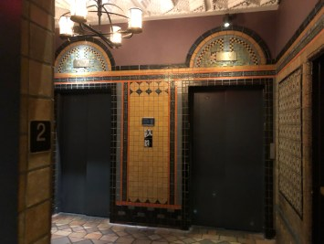 Elevators on the 2nd floor of the Kimpton Hotel Palomar Philadelphia.