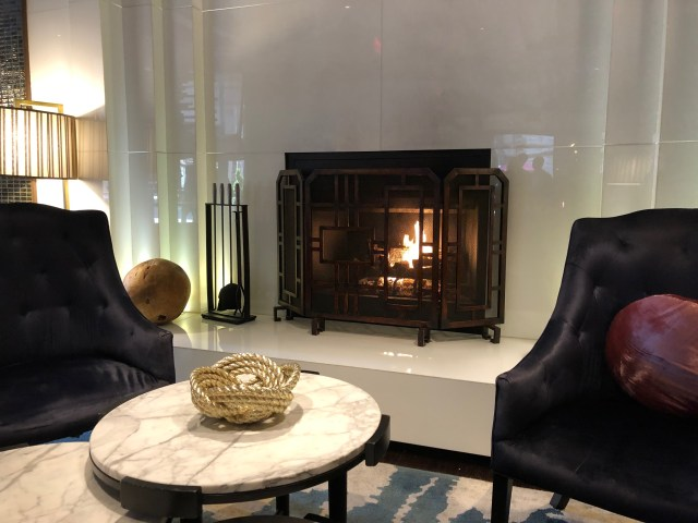 Fireplace in the lobby of the Kimpton Hotel Palomar Philadelphia