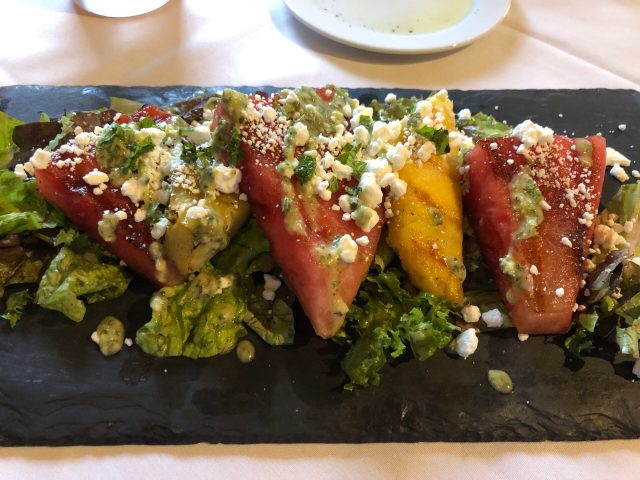 Review of the Sergeantsville Inn:  Summer grilled watermelon and pineapple salad