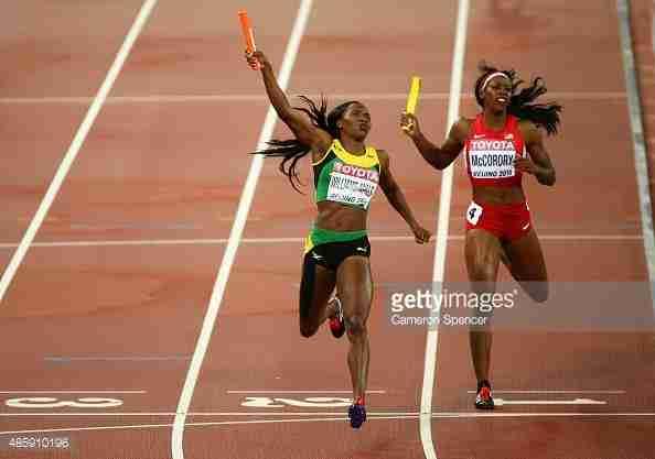 Williams-Mills, Jamaica Win 4x400m, Beat Felix, USA