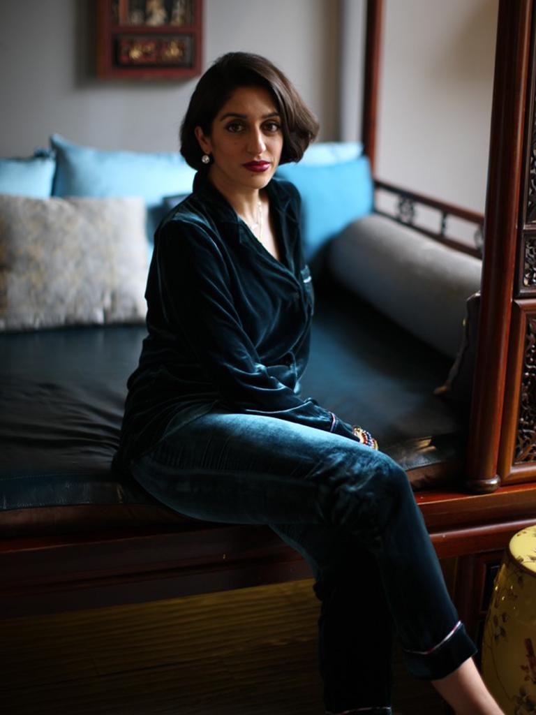 Kristina Snaith-Lense wears a Turquoise velvet lounge wear set