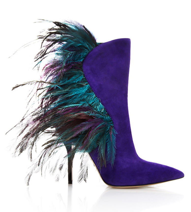 Paul Andrew stiletto boots with peacock feathers