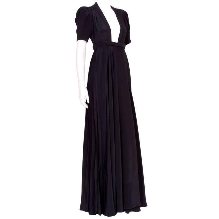 1970s Ossie Clark wrap dress in black