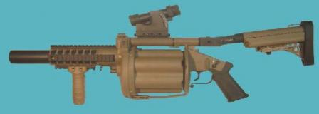 Milkor MGL-140 grenade launcher, with longer cylinder and Picatinny type accessoryrails.