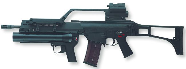 HK G36 assault rifle (standard German army version with dual sight system) with 40mm AG36 underbarrel grenade launcher