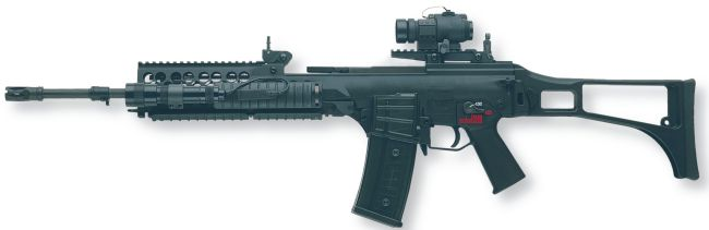 HK G36 assault rifle with optional accessory kit which includes forearm with four Picatinny rails and a low-profile scope rail on the receiver
