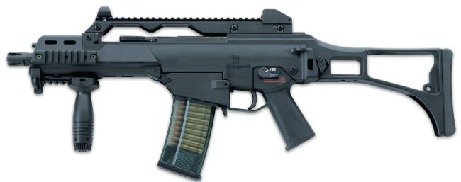 HK G36C 'Compact' or 'Commando' assault rifle, with optional Picatinny rails on forend
