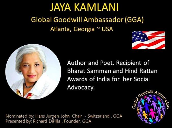 Jaya Kamlani honored Global Goodwill Ambassador by Richard DiPilla