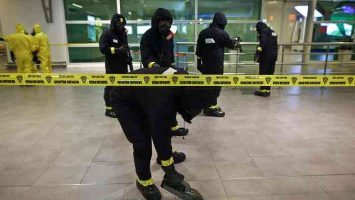 A Hazmat team conducting checks inside Kuala Lumpur International Airport after the killing of Kim Jong Nam in 2017.
