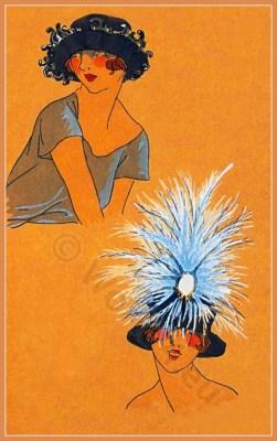 High Class. Art deco era headdresses. Cloche hats, Flapper, Gatsby fashion.