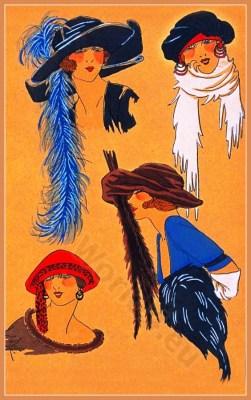 Creation Lewis. Art deco era headdresses. Cloche hats, Flapper, Gatsby fashion.