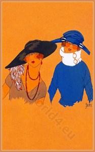Hat Models, Art deco era headdresses. Cloche hats, Flapper, Gatsby fashion.