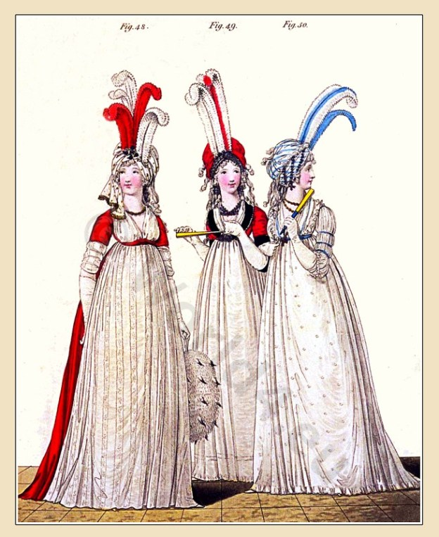 Regency, Robe, Petticoat, Chemise, Chiffonet, Polonaise, Ermine muff, coquelicot, Turban, Heideloff, Jane Austen, Regency, Neoclassical, Gallery, Fashion, Costumes,