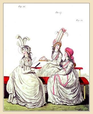 Regency fashion june 1795. Robe à l'enfantine. England Georgian period. Regency clothing. Jane Austen style