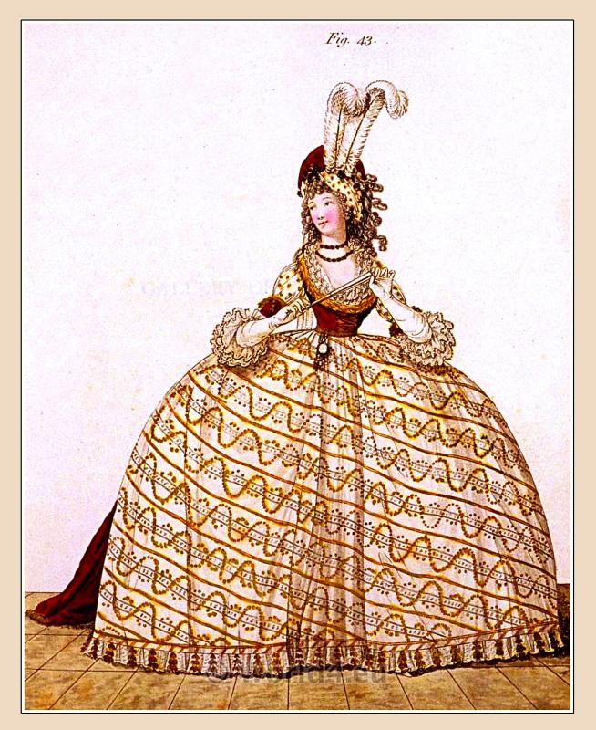 Regency, Georgian, fashion history, costume,Heideloff, Court Dress,
