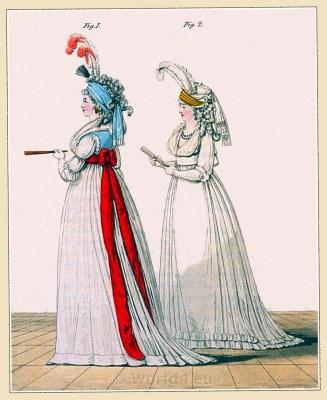 Satin shoes. Gallery of Fashion. England Georgian, Regency era fashion. Neoclassical costumes.