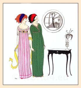 Paul Poiret, Fin de siècle era, fashion. costumes. Art Nouveau, Art deco, Flapper, Gibson girls, Roaring Twenties