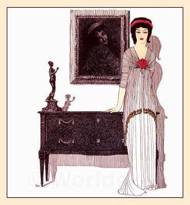 French fashion. Art Nouveau costume by Paul Poiret, 1908. Haute couture vintage fashion.