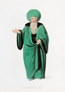 Ulemas costume. Ottoman empire historical clothing