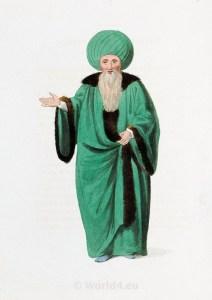 Ulemas. Islamic Law. Historical Turkish costumes. Ottoman empire costumes.