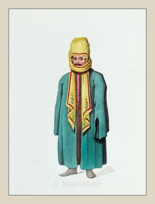 Turk chall, shawl. Ottoman man traditional dress. Historical Turkish costumes.