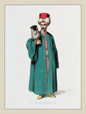 Turban Bearer. Ottoman Empire officials costumes. Historical Turkish clothing.