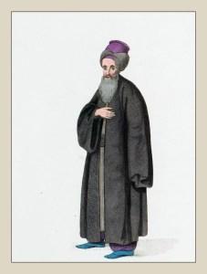 Traditional Jewish costumes. Ottoman Empire dress. Jewish national costume