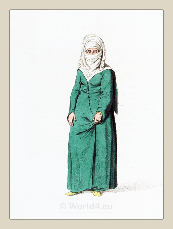 Muslim woman costume. Ottoman empire historical clothing