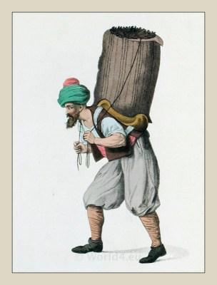 Hamal, common porter, Istanbul. Historical Armenian clothing. Turkish traditional costumes..