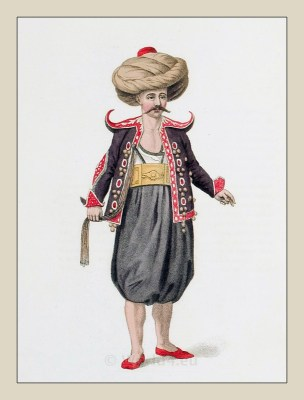 Turkish water carrier. Ottoman Empire Costume. Traditional Turkish national costume