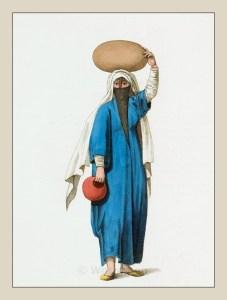 Traditional Arab women dress. Egyptian arab woman costume. Ottoman Empire