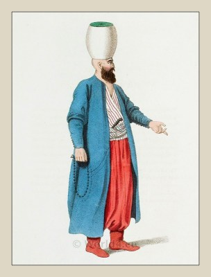 Janissary officer. Turkish traditional clothing. Historical Ottoman empire costume.