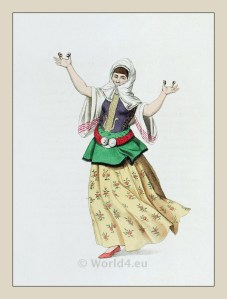 Muslim woman dancer from Istanbul. Ottoman empire historical clothing
