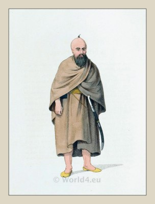 Dervish clothing. Islamic monk costume. Mohammedan holy man of islam. Ottoman empire