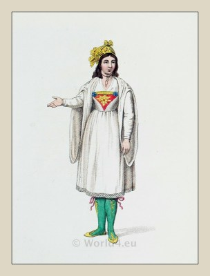 Traditional Naxos costume. Greek national costumes. Ottoman Empire dresses.