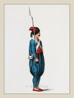 Topchis soldier uniform. Ottoman Empire infantry. Turkish military costumes