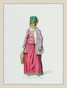 Woman costume Symi island. Ottoman empire historical clothing
