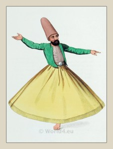 Dancing Dervish costume. Mevlevi order. Ottoman empire historical clothing