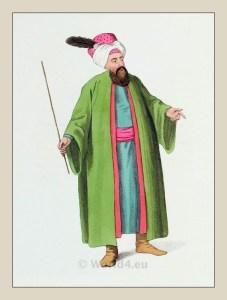 Chief Usher. Turkish Sultan. Historical Turkish costumes. Ottoman empire