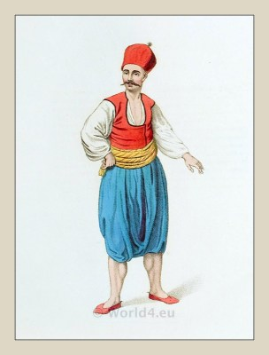 Greek sailor costume. Traditional Greece folk dress. Ottoman Empire ethnic groups clothing.