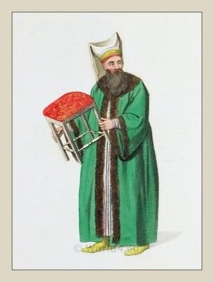 Stool bearer. Turkish Sultan. Historical Turkish costumes. Ottoman empire
