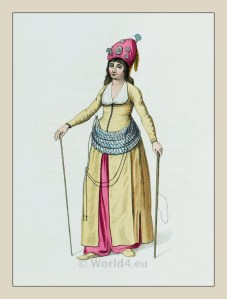 Attendant Sultan Harem costume. Ottoman empire historical clothing