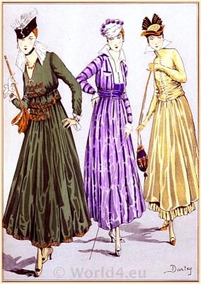 Belle Epoque costumes. French Fin de siècle fashion by couturier Fructus & Descher. Haute couture costumes