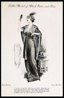 France 1910s Fin de siècle fashion. French haute couture gown. Belle Epoque costume by Couturier Callot Soeurs.