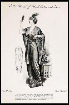 The Fashion House Callot Soeurs. France 1910s Fin de siècle fashion. French haute couture gown. Belle Epoque costume