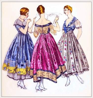 Fin de siècle Evening dresses by couturier Fructus et Cie. Belle Epoque Fashion France 1916.