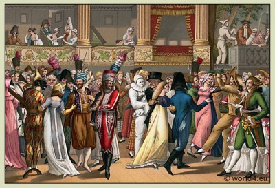 French empire costumes. Regency fashion. Costumed Ball, Opera